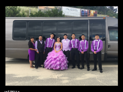 Salem Limo Tour for a Quinceañera group in purple and white