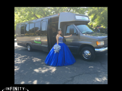 A beautiful Quinceañera girl in blue
